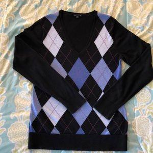 Gap Outlet Argyle V-neck Cotton Sweater Size L